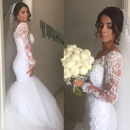 $enCountryForm.capitalKeyWord Canada - Gauze run Neck Long Sleeves Lace Appliques Court Train Mermaid Wedding Dresses Custom Size Back Covered Button Sexy Bridal Gowns