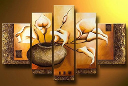 $enCountryForm.capitalKeyWord Canada - Hand Painted Weak yellow lily flower vase landscape Oil Painting on canvas 5 piece set wall art,HH503