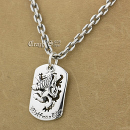 Silver Lion Pendants Canada - 925 Sterling Silver King Lion Dog Tag Biker Pendant 9S120A Silver Necklace 24""