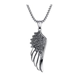 Men Pendant Feather NZ - 2017 hot fashion Men Choker Stainless Steel Vintage Gothic Feather Angel Wing Pendants Necklace Silver Tone