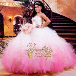 $enCountryForm.capitalKeyWord Australia - Hot White And Pink Quinceanera Dresses 2016 Ball Gowns Organza Beads Ruffles Vestidos De 15 Anos Cheap Quinceanera Gowns