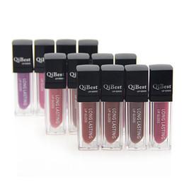 natural lip sticks 2019 - Waterproof lipstick Long Lasting Lip Gloss QiBest Makeup Lips 12 Colors Lip Glosses Non-stick Cup lipstick cheap natural