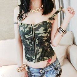 Barato Camuflagem Desgaste Por Atacado-Atacado-Camuflagem Color Elastic Strap Zipper Design Mulheres Sexy Tops Free Size Lady Hot Venda Tight Hip Hop Wear Lingerie Camisola Top Camis