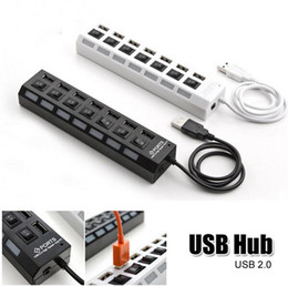 Wholesale Used Laptop NZ - Portable Universal Black White USB 2.0 Multi-Port Socket 7 Ports USB Hub Laptop PC Fast Charging Charger Station Office Gift