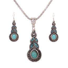 Chinese  925 Silver Plated Chain Turquoise Crystal Calabash Charm pendant Earrings Necklace Set Women Vintage Jewelry free shopping manufacturers