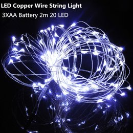 Green Wire Netting Canada - 2M 20 LED String Mini LED Copper Wire String Light AA Battery Operated Fairy Party Wedding Christmas Decoration Light Flashing Sparkle Light