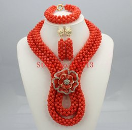 Indian Coral Beads Australia - Free Shipping! 2016 Fashion Red Coral Beads Jewelry Set Charms Red Twisted Strands African Jewelry Set High Quality HT204-3