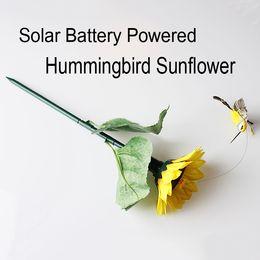 Best solar Batteries online shopping - Solar Battery Powered Fluttering Hummingbird Sunflower Feather Wings and Tails Garden Yard Decoration best gift D709L