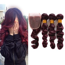 $enCountryForm.capitalKeyWord NZ - 99J Red Lace Closure With Bundles 9A Mink Brazilian Loose Wave With Closure 3 Bundles Brazilian Virgin Hair With Closure Deals