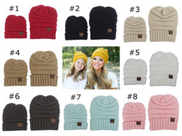 eef47ffd6fc mom and daughter dad baby beanie hats winter hats for women kids crochet  hats wholesale children knit hat family matching set wool cap