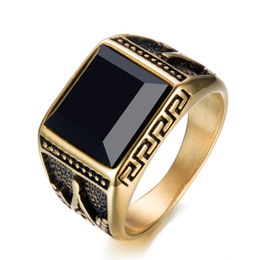 online shopping 2018 Brand New Simple style Black Zircon Mens Stainless Steel Gold Ring Finger Rings fast