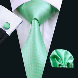 Discount man weave - Classic Spring Green Solid Silk Ties Set for Men Hankerchief Cufflinks Jacquard Woven Business Formal Work Neck Tie Set