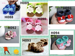 Wholesale Crochet baby shoes Soft flower white leaves infant knitted first walker shoes toddler sandals pattern M baby shoes