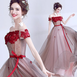 $enCountryForm.capitalKeyWord Canada - Vintage Lace Beaded 2017 Evening Dresses Bateau A-line Tulle Prom Dresses Cheap Fashion Formal Party Bridesmaid Gowns
