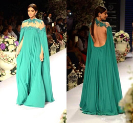 $enCountryForm.capitalKeyWord NZ - 2016 New Michael Costello High Neck With Cape Formal Evening Dresses A Line Chiffon Sheer Sexy Runway Celebrity Gowns Open Back Prom BO9009