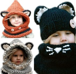 Kids Crochet Beanies Canada - Fox Headgear Knitting Wool Kids Beanies Baby Infant Crochet Girl Cap For Boy Warm Hat Child Winter Hat Baby Thick Accessories