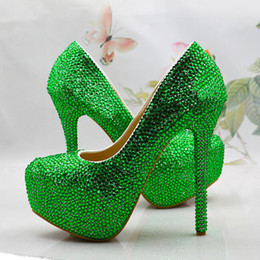 Barato Gorgeous Rhinestone De Salto Alto-Cusotm Handmade Green Rhinestone Wedding Shoes Special Event Saltos altos Magnificent Crystal Graduation Pumps Formal Dress Shoes