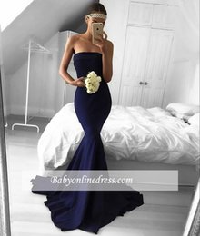 Barato Strapless Barato Vestidos De Baile-Dark Navy Simples Strapless Sereia Vestidos de noite Satin Sweep Train Prom Dress Vestidos de festa Vestidos de noite formal Custom Made Cheap Dress