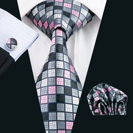 Discount steel sets - Grid Gray Pink Silk Tie Hanky Cufflinks Mens Set Jacquard Woven Classic 8.5cm Width Wedding Party Business N-0482