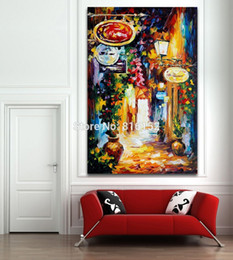 Street Art Canada - Palette Knife Oil Painting Silence Night Street Town Life Scene Canvas Printing Mural Art for Home Living Office Wall Decoration
