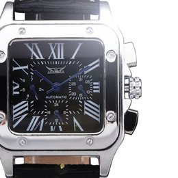 Discount rectangle dial watches men - Wholesale-2015 new luxury JARAGAR rectangle dial multi function watches men mechanical Automatic Self-Wind leather class