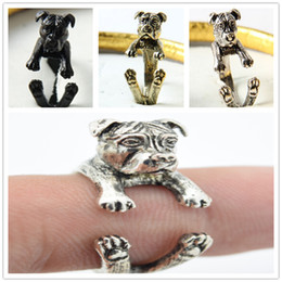 Animal Rings Jewelry Canada - Free shipping newest punk America Pit Bull Terrier Ring free size hippie animal pit bull dog Ring jewelry for pet lovers
