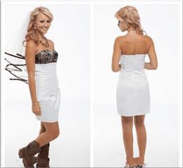 $enCountryForm.capitalKeyWord Australia - Short White Camo Wedding Dresses A Line Sweetheart Ruffles Custom Made White Satin Cheap Bridal Gowns