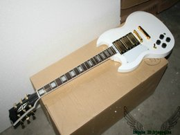 Guitar White NZ - White Left Handed SG Electric Guitar 3 Pickups Gold Hardware High Quality From China
