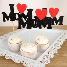 Tea Party Cake Decorations Australia - cake toppers I Love Dad MOM U BABY cards banner for fruit Cupcake Wrapper Baking Cup birthday tea party wedding decoration shower