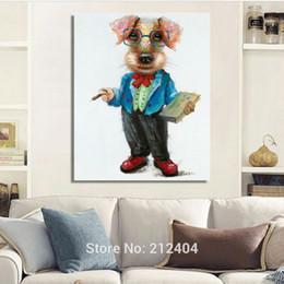 $enCountryForm.capitalKeyWord Canada - Modern Cartoon Animal Dogs Hand-painted Oil Painting on Canvas Unframed Wall Art for Living Room Bedroom Decoration
