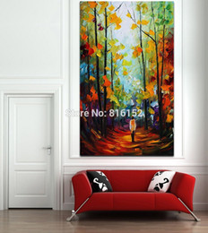 forest canvas print Canada - Palette Knife Painting Charming Autumn Forest Walk in Red Alley Art Picture Printed on Canvas for Home Office Hotel Wall Decor