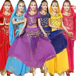 Egyptian Halloween Costumes Women Canada - 4pcs Sets India Egyptian Halloween Belly Dance Costumes Bollywood Costumes Indian Bellydance Dress Womens Belly Dancing Wear
