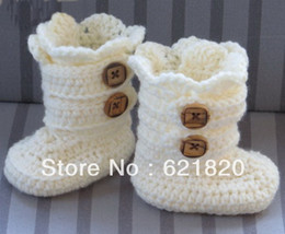 Wholesaler Boots Cheap Canada - Beige & buttons booties .Classic Snow Boots.Crochet Boots Pattern,(9,10,11cm).hot sale .cheap .16pairs 32pcs