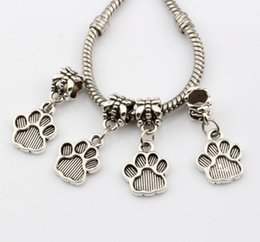 wholesale paw print Australia - MIC 150pcsAntique Silver Tone Paw Print Charm Dangle Beads Fit Charm Bracelets DIY Jewelry 12x27mm