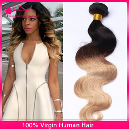 18 Inch Weave Price Canada - New Arrival Two Tone Body Wave Hair 3pcs lot Brazilian Virgin Human Hair Weaves Colored 1B 27 Hair Bundles Unprocessed Cheap Price