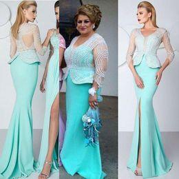 Dress Sleevs Canada - Light Green Luxury Pearls Beading Split Evening Dresses Long Sleevs 2016 V Neck Sheer Top Mermaid Long Prom Gown Mother Of Bride Dress
