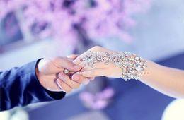 ElEgant hair claws online shopping - 2018 Elegant wedding Bridal Crystal Rhinestone bracelet party prom Jewelry with ring wristband Bracele