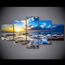 art canvas prints Australia - 5 Pcs Set Framed HD Printed Sunrise Sea Coast Rocks Artwroks Canvas Print Poster Asian Modern Art Oil Paintings Pictures
