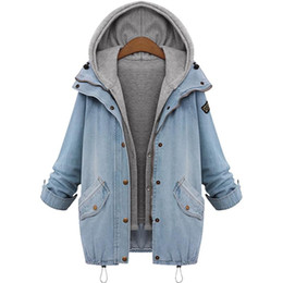 China Wholesale- 2017 Women Casual Knitted Jeans Jacket Two Piece Set Denim Jacket Hooded Oversized Casual Women Coat Outwear Plus Size cheap jeans jacket sets suppliers