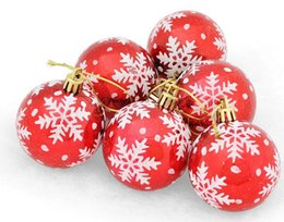 Hanging Plastic Ball Ornaments UK - 6pcs 6cm snowflake Round Ball Pendant Suspension ornament For Christmas Party Holiday Tree Venun Hanging Decoration