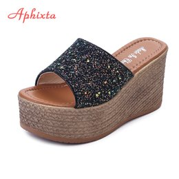 $enCountryForm.capitalKeyWord Canada - Aphixta Summer Wedge Slippers Platform High Heels Women Slipper Ladies Outside Shoes Basic Clog Wedge Slipper Flip Flop Sandals