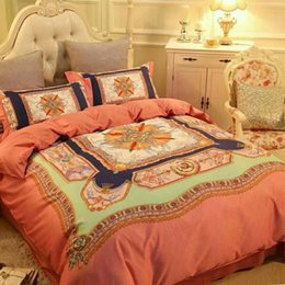 Brand Quilt Canada - High-end luxury royal french italy design rococo embroidery branded king queen size quilts coffee Brand H horse Duvet Cover bedding sets