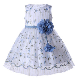 Chinese  Pettigirl Wedding Party Princess Dress White Tulle Embroidery Dresses With Removeable Flower Girl Dresses Sash Children Clothing GD003-1373 manufacturers