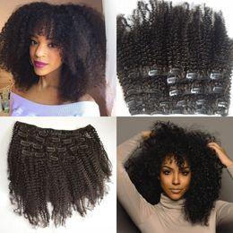 Toptan satış Moğol Bakire Saç Afro-amerikan İnsan saç uzantıları afro kinky kıvırcık saç klip doğal siyah klipler ins G-EASY