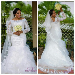 China Strap White Canada - Plus Size Lace Mermaid Wedding Dresses Long Sleeves Robe De Marriage 2016 Scoop Appliques Beaded White African Bridal Gowns Made In China