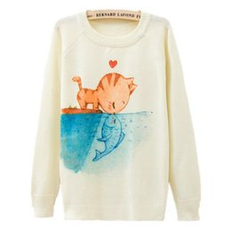 Chinese  Wholesale-[1314] 2015 New Fashion Autumn Winter Women Long Sleeve Cats kiss Fish print Knitted Sweater Pullover Knitwear Tops Outerwear manufacturers