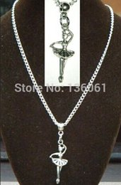 $enCountryForm.capitalKeyWord Canada - 20PCS Vintage Silvers Ballet Ballerina Charms Chain Necklace Pendants For Women Satement Choker Necklace &Pendants Jewelry Accessories P2310