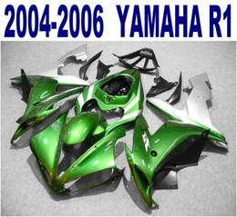 Motorcycle fairing kit yaMaha r1 online shopping - Injection molding ABS full fairing kit for YAMAHA YZF R1 green black silver motorcycle fairings set yzf r1 VL55