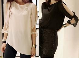 f0d345c2c2b3a3 Discount long sleeve shoulder cut out tops - Korean Women Fashion Cut Out  Open Shoulder Chiffon