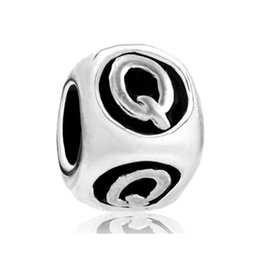 Q cube online shopping - Pandora style Q R S T U V W X Y Z alphabet letter bead metal initial charm for beaded bracelet